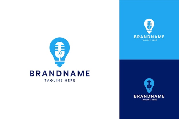 Projekt logo negatywnej przestrzeni pomysł na podcast