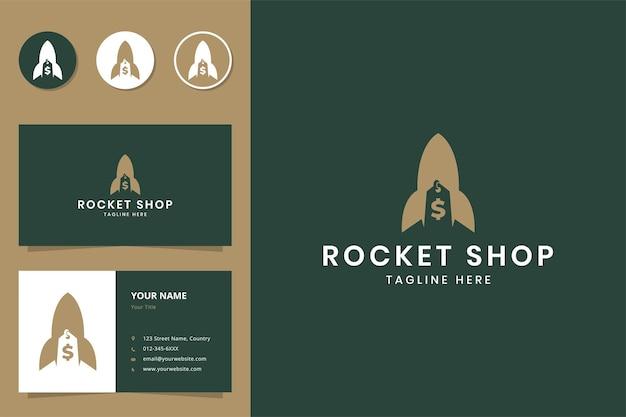 Projekt logo negatywnej przestrzeni sklepu rakietowego
