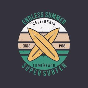 Projekt logo niekończące się lato w kalifornii super surfer plaży z płaską ilustracją deski surfingowej