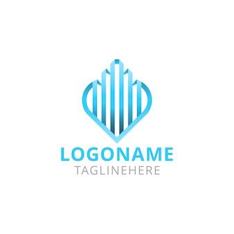 Projekt logo nieruchomości linii serca