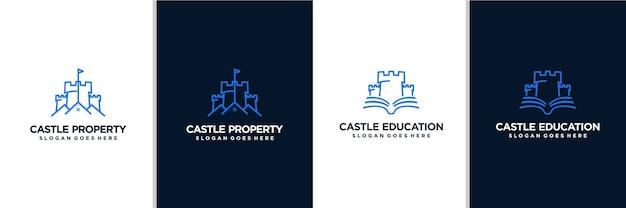 Projekt logo nieruchomości zamku i edukacji zamku