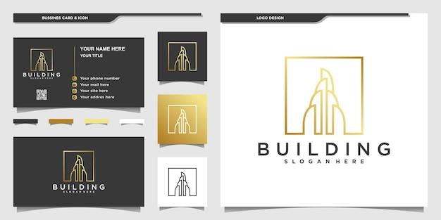 Projekt logo nieruchomości ze stylem grafiki liniowej i projektem wizytówki dla firmy