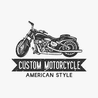 Projekt logo niestandardowego amerykańskiego stylu motocykla z rocznika ilustracji motocykla