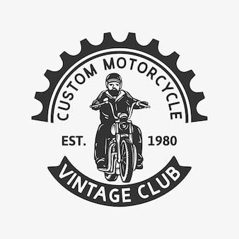 Projekt logo niestandardowego klubu motocyklowego rocznika rok 1980