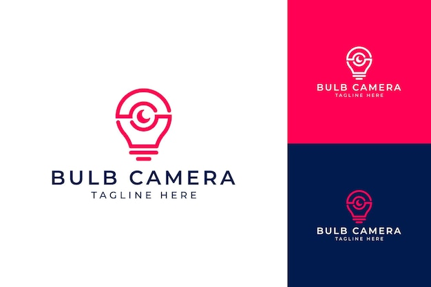 Projekt logo nowoczesnego aparatu fotograficznego żarówki