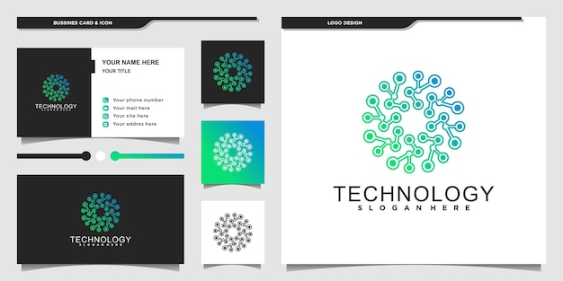 Projekt logo nowoczesnej technologii z unikalną koncepcją cząsteczek i wizytówką premium vecto