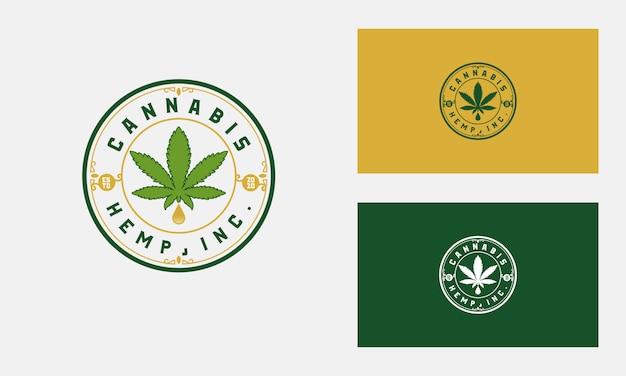 Projekt logo odznaka liść konopi lub marihuany
