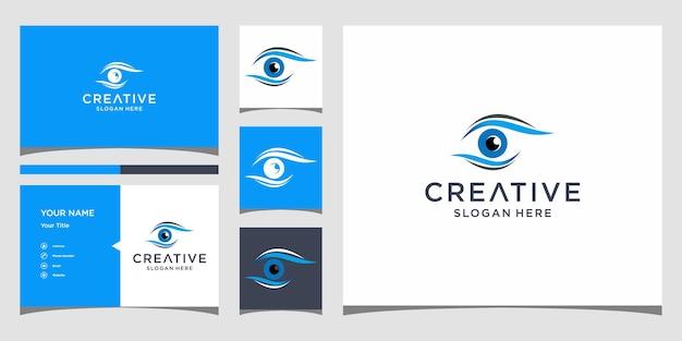 Projekt logo oka z szablonem wizytówki