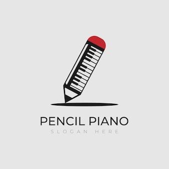 Projekt logo ołówka łączy się z fortepianem używanym do logo muzyki lub logo kreatywności
