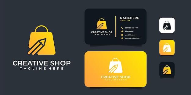 Projekt logo ołówka luksusowego sklepu kreatywnego z szablonem wizytówki.