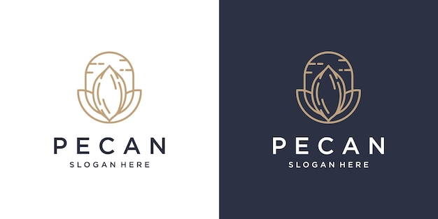 Projekt logo pecan line art