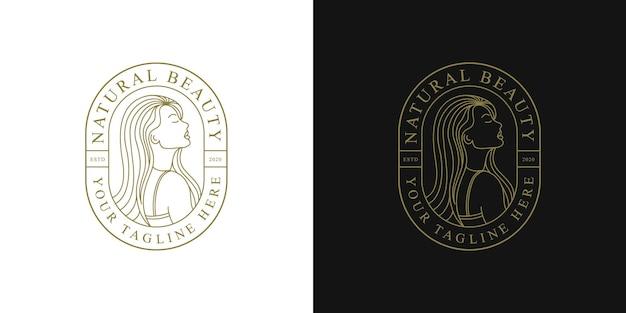 Projekt logo piękna kobieta z odznaką