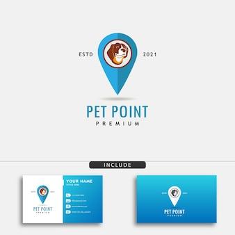 Projekt logo pinezki lokalizacji psa dla zwierząt domowych symbol psa z ikoną znacznika lokalizacji