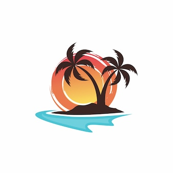 Projekt logo plaży szablon wektor