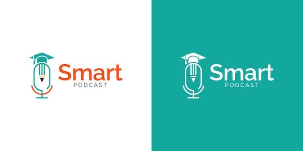 Projekt logo podcastu edukacyjnego w kolorze białym lub miętowym