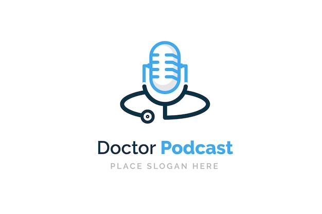 Projekt logo podcastu lekarza. stetoskop i mikrofon ilustracja symbol.