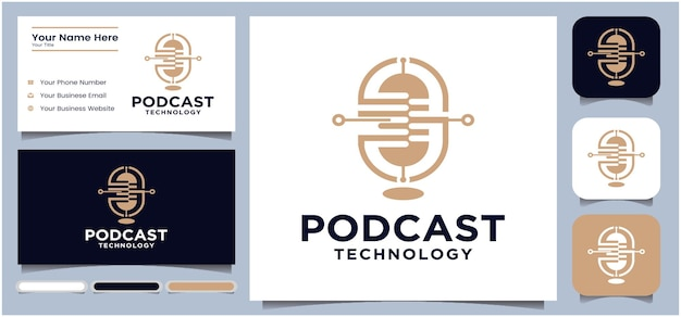 Projekt logo podcastu projekt logo czatu mikrofonu do podcastu logo radia za pomocą mikrofonu