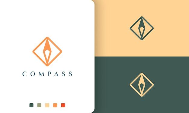Projekt logo podróży lub wycieczki z prostym i nowoczesnym kształtem kompasu