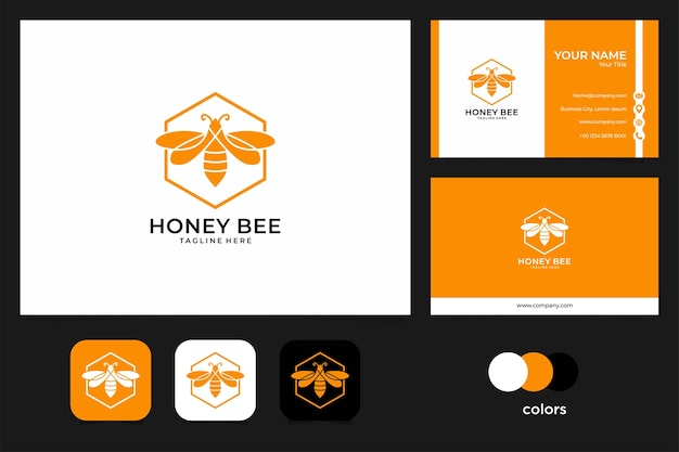 Projekt logo pomarańczowy pszczoły miodnej i wizytówki