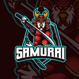 Projekt logo premium gry e-sportowej maskotki kurczaka samuraja