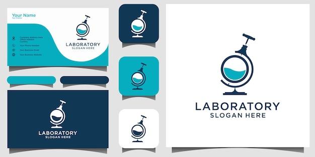 Projekt logo probówki laboratoryjnej z wizytówką szablonu tła