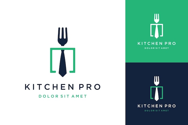 Projekt logo profesjonalnej kuchni lub widelca z krawatem