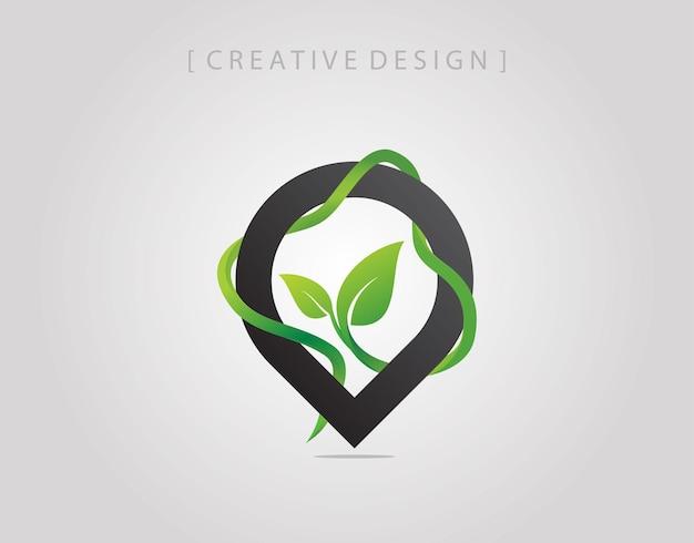 Projekt logo przypiętych zielonych roślin