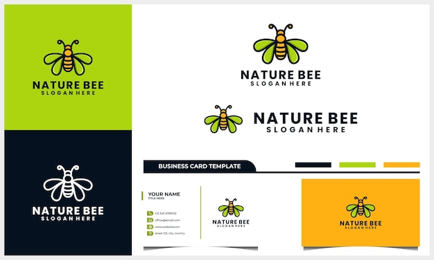 Projekt logo pszczoły miodnej z koncepcją liścia skrzydła i szablonem wizytówki