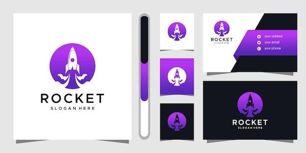 Projekt logo rakiety i szablon wizytówki.