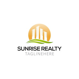 Projekt logo real estate sunrise