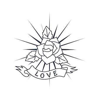 Projekt logo retro róża i wstążka