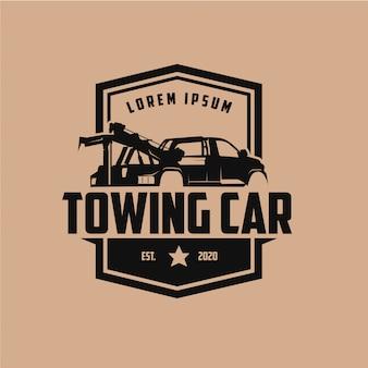 Projekt logo rocznika etykiety samochodu holowania samochodu