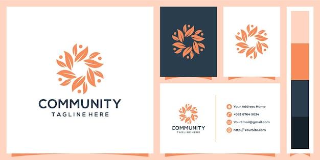 Projekt logo społeczności liścia z koncepcją wizytówki