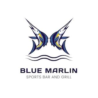 Projekt logo sportowego niebieskiego marlina
