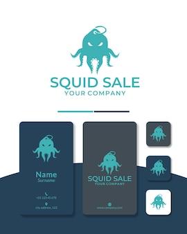 Projekt logo sprzedaży ośmiornicy lub zakup ośmiornicy do restauracji i sklepu rybnego