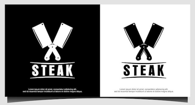 Projekt logo steak house prosty wektor