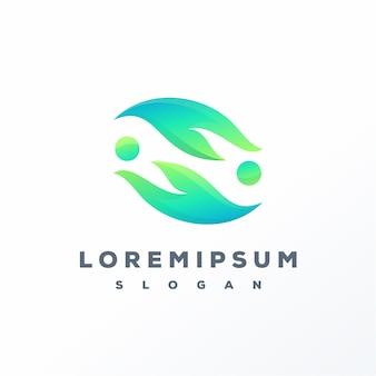 Projekt logo streszczenie liść gotowy do użycia