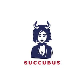 Projekt logo succubus, demoniczna dziewczyna, czarodziejka, kobieta z rogami
