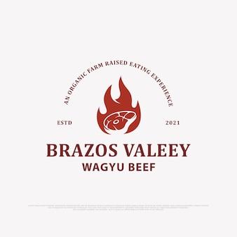 Projekt logo świeżej wołowiny intage