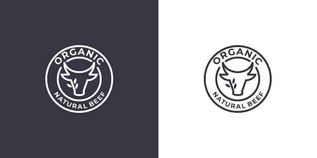 Projekt logo świeżej wołowiny, liniowe logo wołowiny głowy