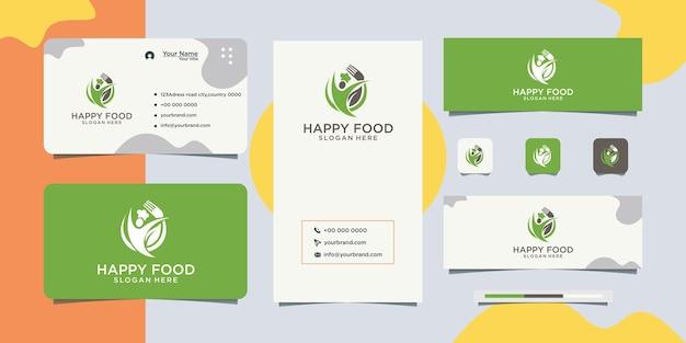 Projekt logo szczęśliwego jedzenia szczęśliwe jedzenie i wizytówka