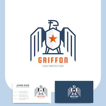 Projekt logo tarcza griffon dla firmy ochroniarskiej z wizytówki
