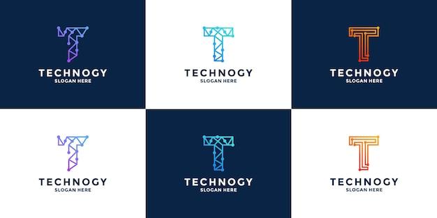 Projekt logo technologii litery t początkowa kombinacja liter z danymi, pikselami dla technologii