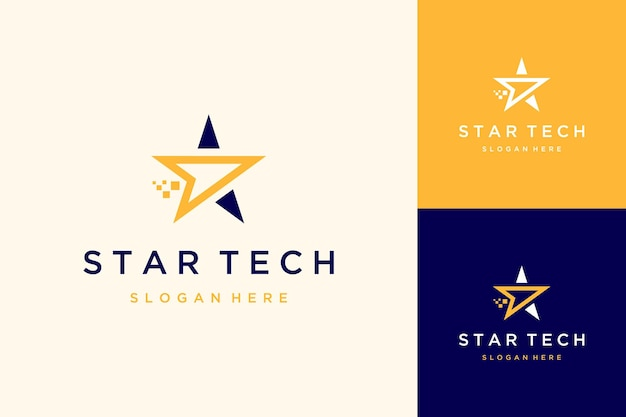 Projekt logo technologii lub gwiazda z pikselem