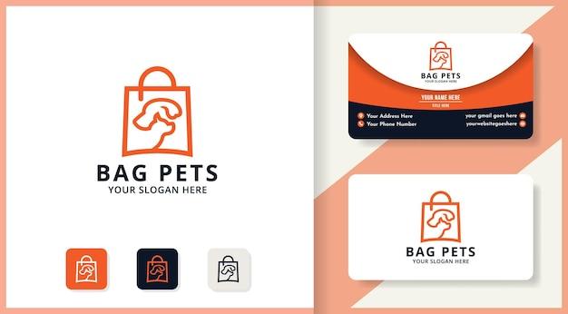 Projekt logo torby dla zwierząt domowych, logo inspiracji dla sklepu z karmą dla zwierząt i zwierząt domowych