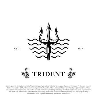 Projekt logo trident broń poseidon z falowym tłem dla logo emblematu znaczka i innych