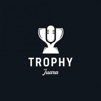 Projekt logo trofeum. garnitur dla mistrza, bitwy, mistrzostwa, reklamy.