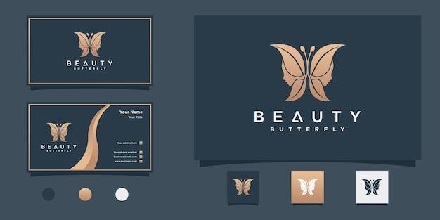 Projekt logo twarzy kobiety z kreatywną koncepcją motyla i projektem wizytówki premium wektor