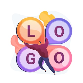 Projekt logo. tworzenie hasła firmowego, branding korporacyjny, tożsamość. płaski projektant graficzny badający pomysł na konkurencyjny logotyp.