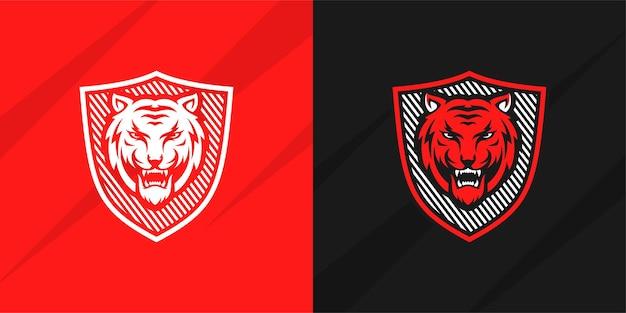 Projekt logo tygrysa na białym tle premium wektorów